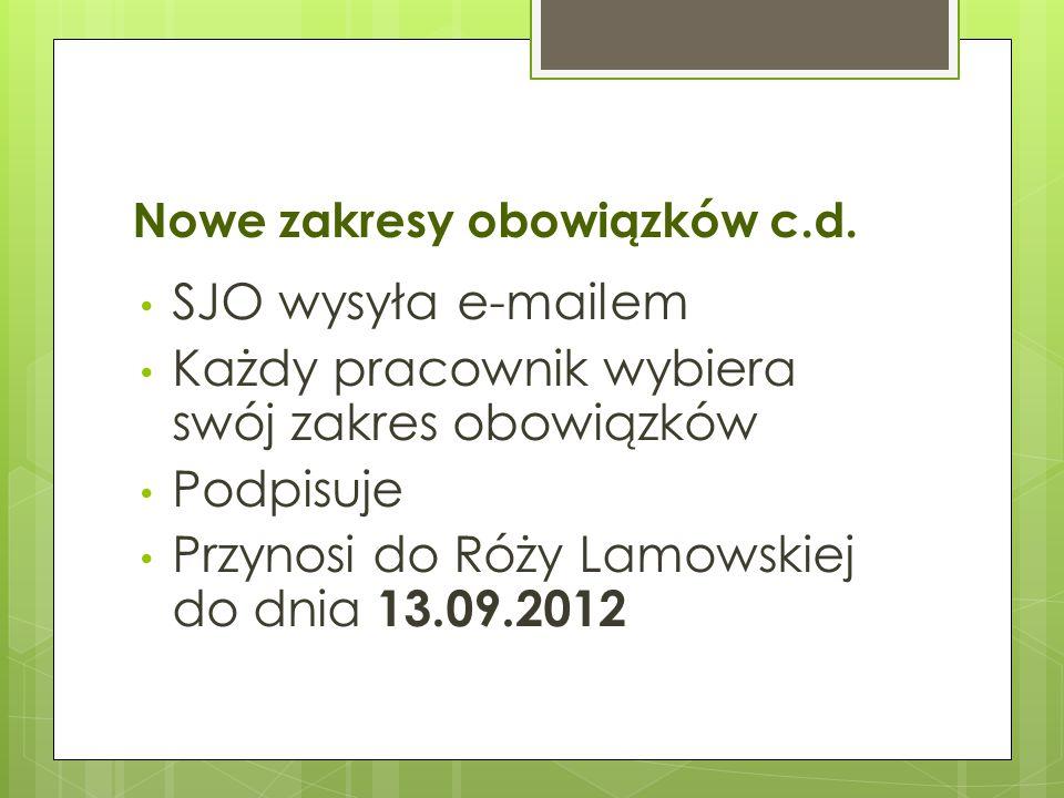 Nowe zakresy obowiązków c.d. SJO wysyła e-mailem Każdy pracownik wybiera swój zakres obowiązków Podpisuje Przynosi do Róży Lamowskiej do dnia 13.09.20
