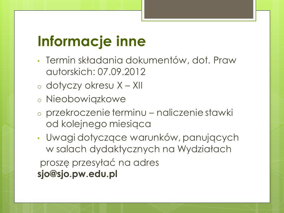 Informacje inne Termin składania dokumentów, dot. Praw autorskich: 07.09.2012 o dotyczy okresu X – XII o Nieobowiązkowe o przekroczenie terminu – nali