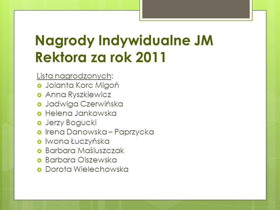 Nagrody Indywidualne JM Rektora za rok 2011 Lista nagrodzonych:  Jolanta Korc Migoń  Anna Ryszkiewicz  Jadwiga Czerwińska  Helena Jankowska  Jerz