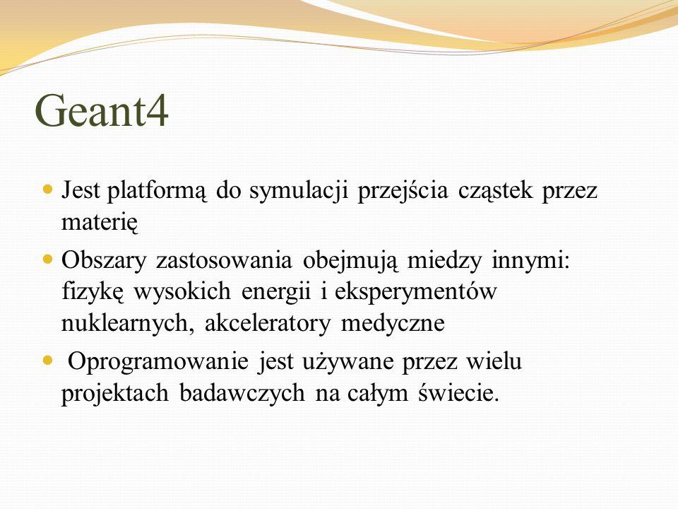 Geant4 Jest platformą do symulacji przejścia cząstek przez materię Obszary zastosowania obejmują miedzy innymi: fizykę wysokich energii i eksperymentó