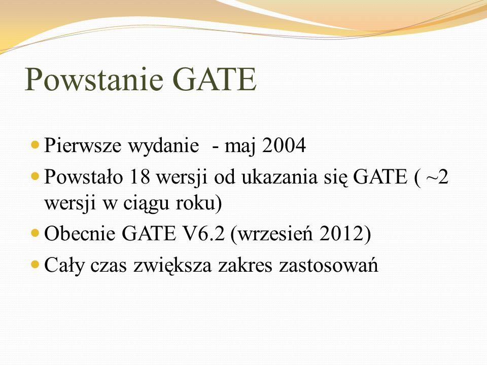 Powstanie GATE Pierwsze wydanie - maj 2004 Powstało 18 wersji od ukazania się GATE ( ~2 wersji w ciągu roku) Obecnie GATE V6.2 (wrzesień 2012) Cały cz