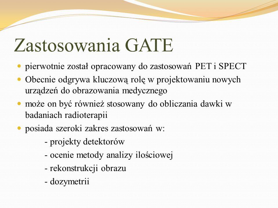 Zastosowania GATE pierwotnie został opracowany do zastosowań PET i SPECT Obecnie odgrywa kluczową rolę w projektowaniu nowych urządzeń do obrazowania