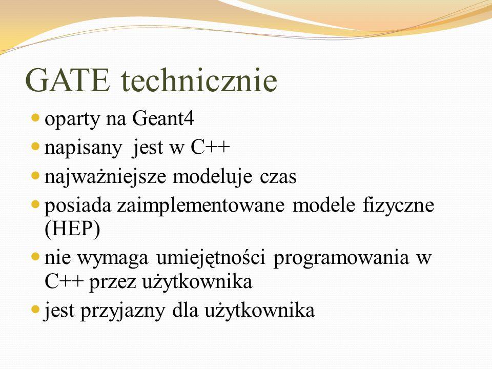 GATE technicznie oparty na Geant4 napisany jest w C++ najważniejsze modeluje czas posiada zaimplementowane modele fizyczne (HEP) nie wymaga umiejętnoś
