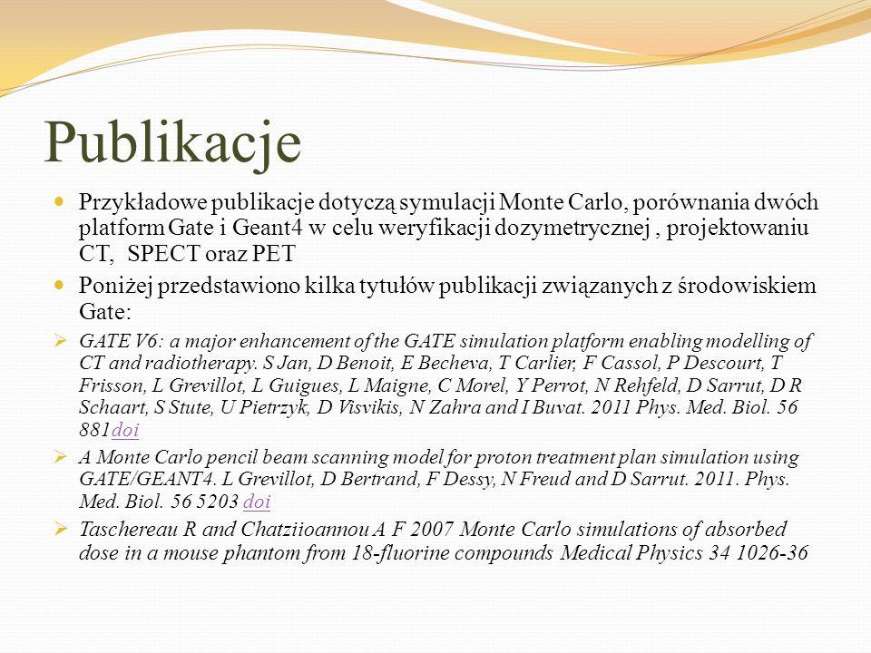 Publikacje Przykładowe publikacje dotyczą symulacji Monte Carlo, porównania dwóch platform Gate i Geant4 w celu weryfikacji dozymetrycznej, projektowa