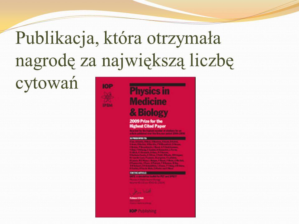 Publikacja, która otrzymała nagrodę za największą liczbę cytowań