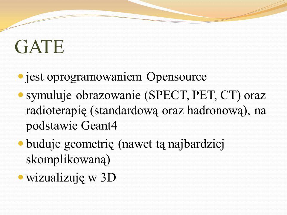 GATE jest oprogramowaniem Opensource symuluje obrazowanie (SPECT, PET, CT) oraz radioterapię (standardową oraz hadronową), na podstawie Geant4 buduje