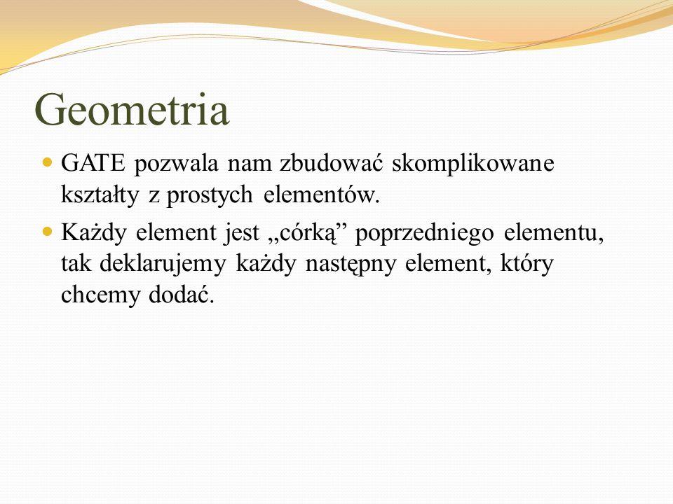 """Geometria GATE pozwala nam zbudować skomplikowane kształty z prostych elementów. Każdy element jest """"córką"""" poprzedniego elementu, tak deklarujemy każ"""