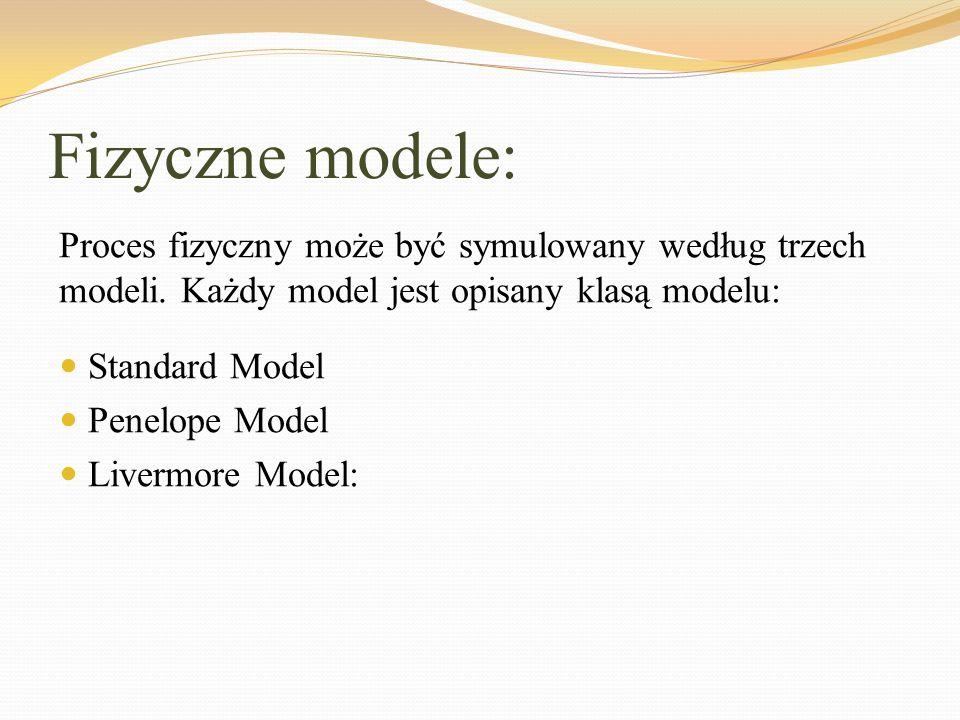 Fizyczne modele: Standard Model Penelope Model Livermore Model: Proces fizyczny może być symulowany według trzech modeli. Każdy model jest opisany kla