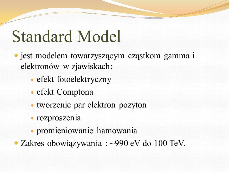 Standard Model jest modelem towarzyszącym cząstkom gamma i elektronów w zjawiskach: efekt fotoelektryczny efekt Comptona tworzenie par elektron pozyto