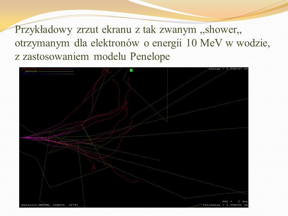 """Przykładowy zrzut ekranu z tak zwanym """"shower"""" otrzymanym dla elektronów o energii 10 MeV w wodzie, z zastosowaniem modelu Penelope"""