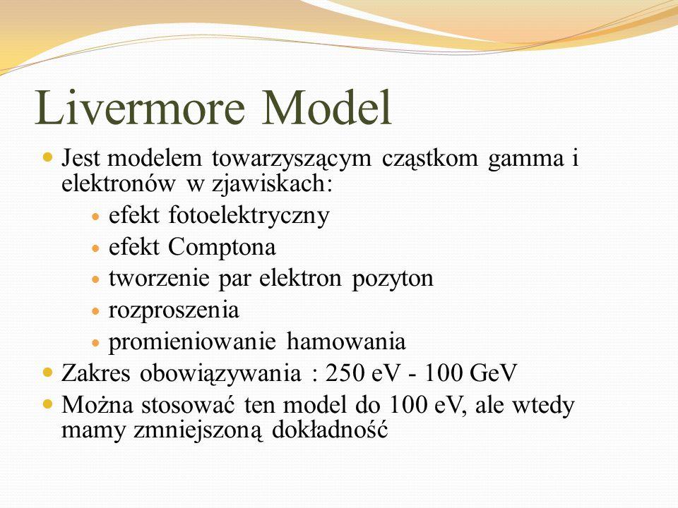 Livermore Model Jest modelem towarzyszącym cząstkom gamma i elektronów w zjawiskach: efekt fotoelektryczny efekt Comptona tworzenie par elektron pozyt