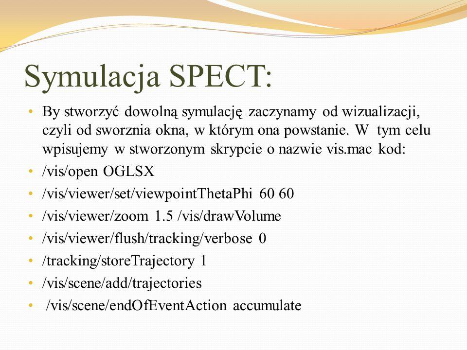 Symulacja SPECT: By stworzyć dowolną symulację zaczynamy od wizualizacji, czyli od sworznia okna, w którym ona powstanie. W tym celu wpisujemy w stwor