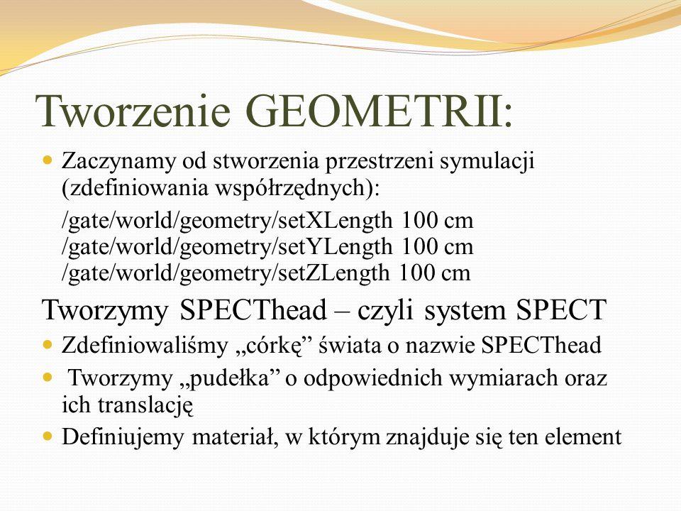 Tworzenie GEOMETRII: Zaczynamy od stworzenia przestrzeni symulacji (zdefiniowania współrzędnych): /gate/world/geometry/setXLength 100 cm /gate/world/g
