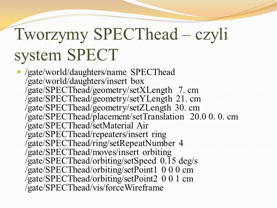 Tworzymy SPECThead – czyli system SPECT /gate/world/daughters/name SPECThead /gate/world/daughters/insert box /gate/SPECThead/geometry/setXLength 7. c