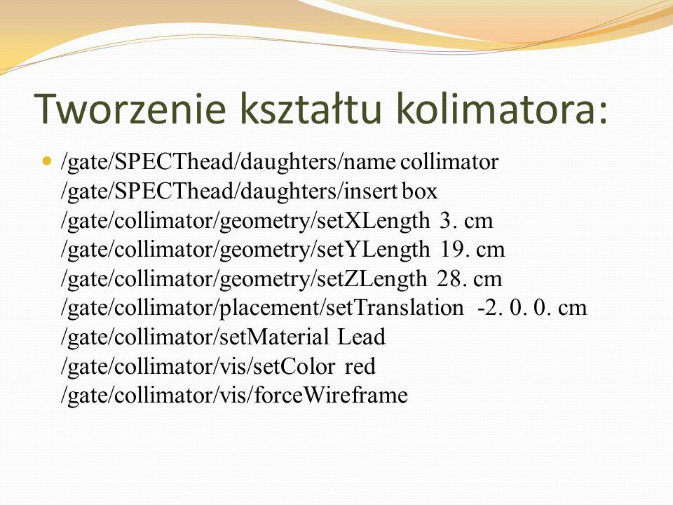 Tworzenie kształtu kolimatora: /gate/SPECThead/daughters/name collimator /gate/SPECThead/daughters/insert box /gate/collimator/geometry/setXLength 3.