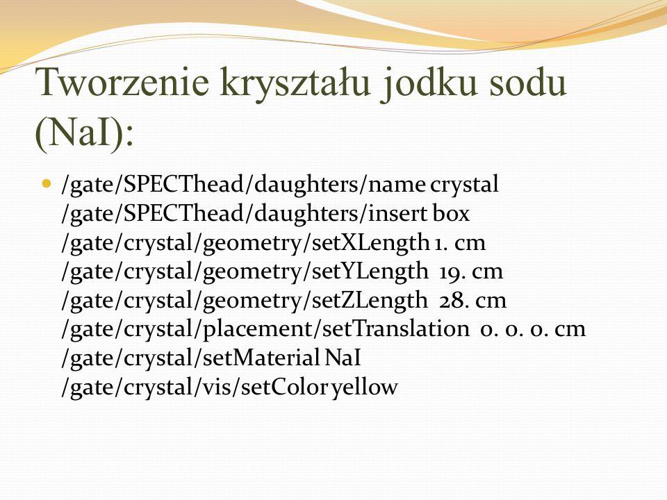Tworzenie kryształu jodku sodu (NaI): /gate/SPECThead/daughters/name crystal /gate/SPECThead/daughters/insert box /gate/crystal/geometry/setXLength 1.