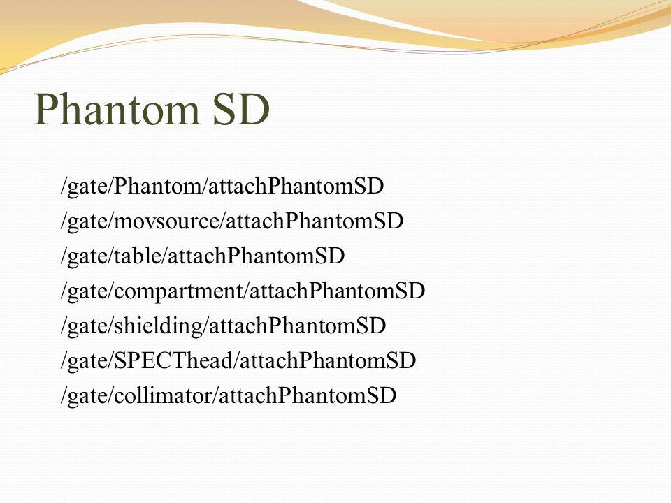 Phantom SD /gate/Phantom/attachPhantomSD /gate/movsource/attachPhantomSD /gate/table/attachPhantomSD /gate/compartment/attachPhantomSD /gate/shielding
