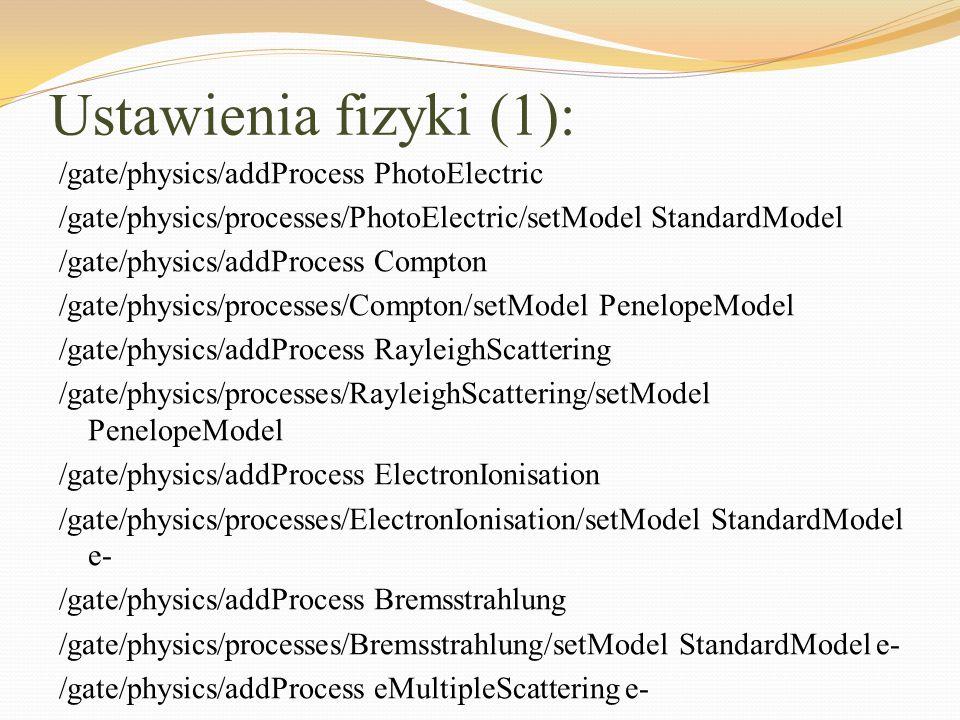 Ustawienia fizyki (1): /gate/physics/addProcess PhotoElectric /gate/physics/processes/PhotoElectric/setModel StandardModel /gate/physics/addProcess Co