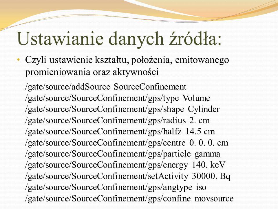 Ustawianie danych źródła: Czyli ustawienie kształtu, położenia, emitowanego promieniowania oraz aktywności /gate/source/addSource SourceConfinement /g