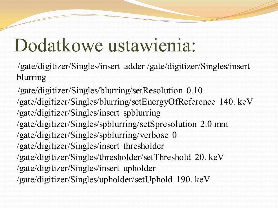Dodatkowe ustawienia: /gate/digitizer/Singles/insert adder /gate/digitizer/Singles/insert blurring /gate/digitizer/Singles/blurring/setResolution 0.10
