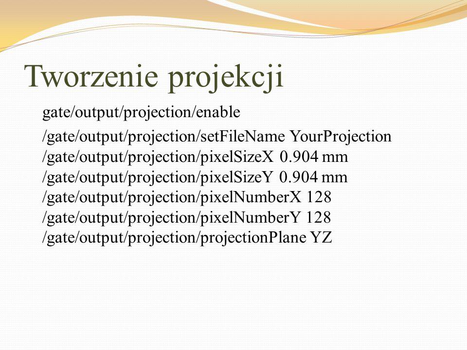 Tworzenie projekcji gate/output/projection/enable /gate/output/projection/setFileName YourProjection /gate/output/projection/pixelSizeX 0.904 mm /gate