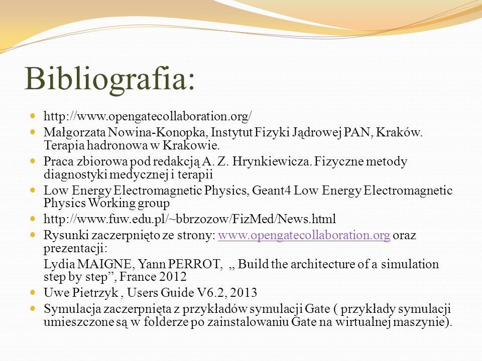 Bibliografia: http://www.opengatecollaboration.org/ Małgorzata Nowina-Konopka, Instytut Fizyki Jądrowej PAN, Kraków. Terapia hadronowa w Krakowie. Pra