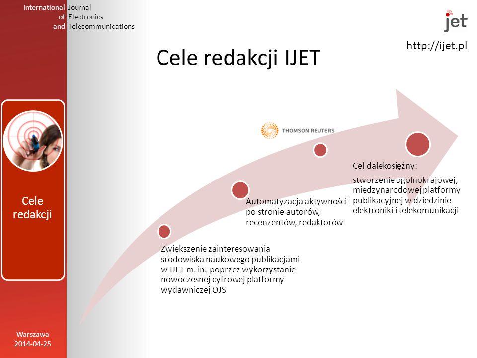 http://ijet.pl International of and Journal Electronics Telecommunications Cele redakcji IJET Zwiększenie zainteresowania środowiska naukowego publikacjami w IJET m.