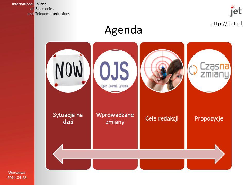 http://ijet.pl International of and Journal Electronics Telecommunications Agenda Warszawa 2014-04-25 Sytuacja na dziś Wprowadzane zmiany Cele redakcjiPropozycje