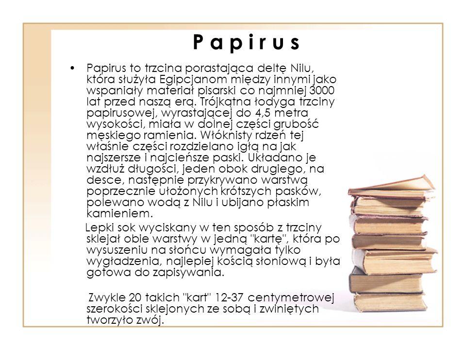 P a p i r u s Papirus to trzcina porastająca deltę Nilu, która służyła Egipcjanom między innymi jako wspaniały materiał pisarski co najmniej 3000 lat