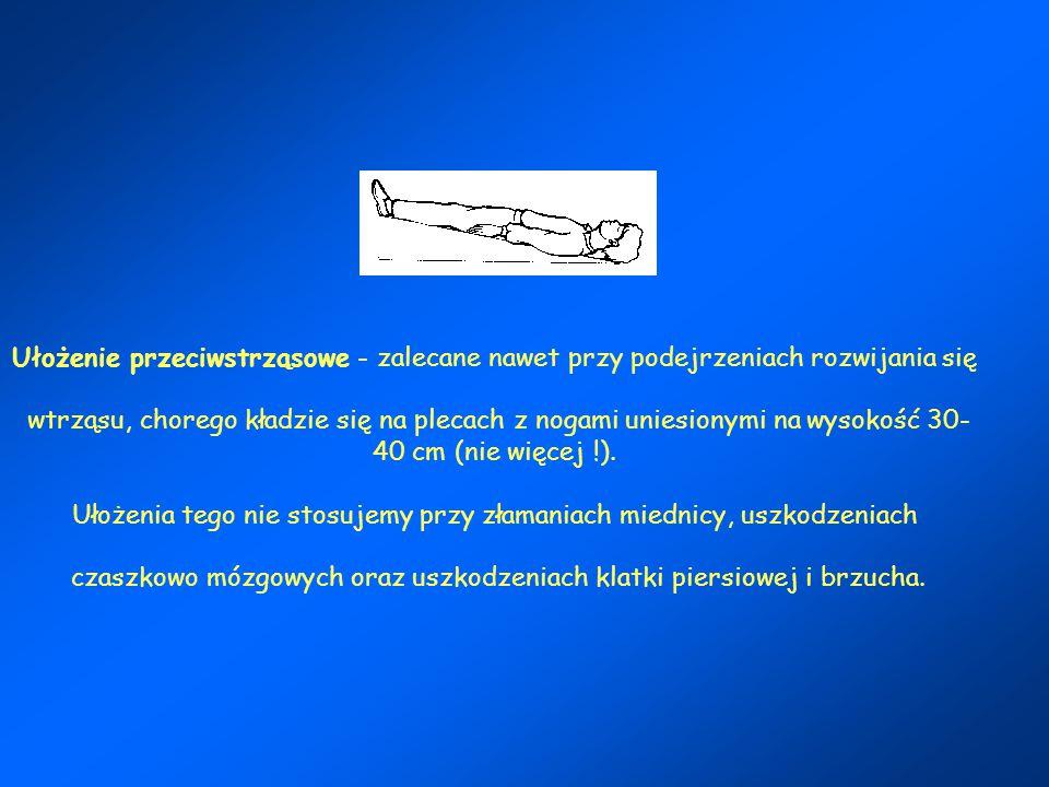 Ułożenie przeciwstrząsowe - zalecane nawet przy podejrzeniach rozwijania się wtrząsu, chorego kładzie się na plecach z nogami uniesionymi na wysokość