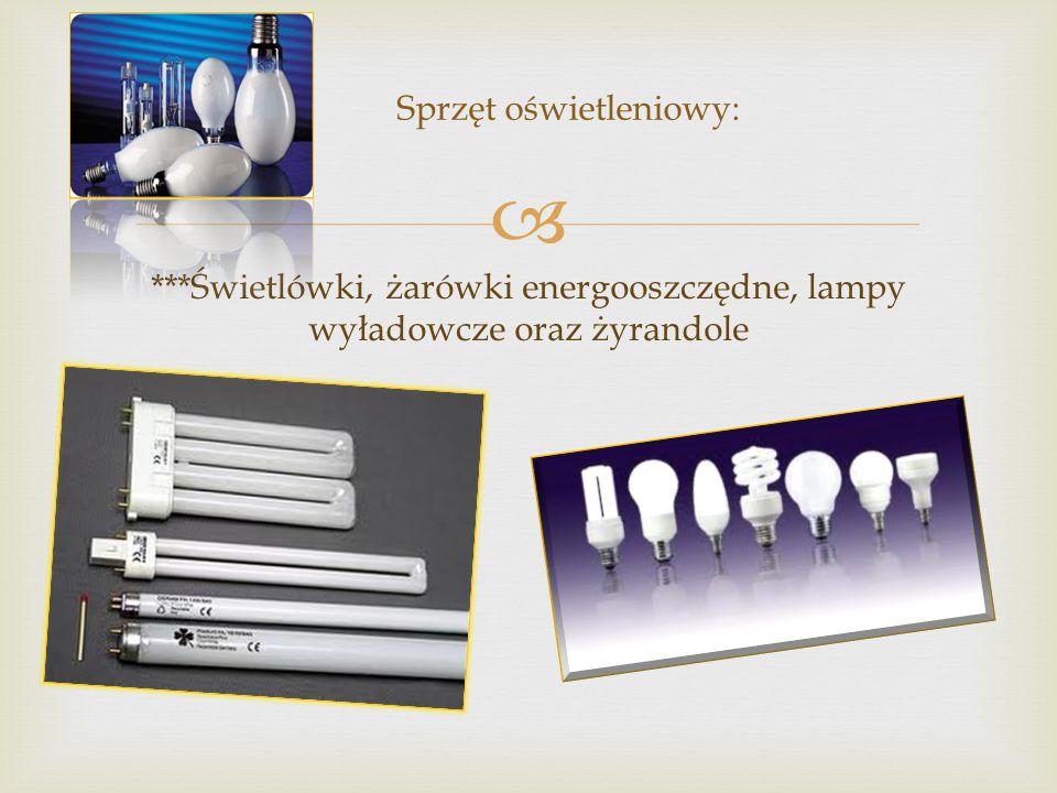  ***Świetlówki, żarówki energooszczędne, lampy wyładowcze oraz żyrandole Sprzęt oświetleniowy: