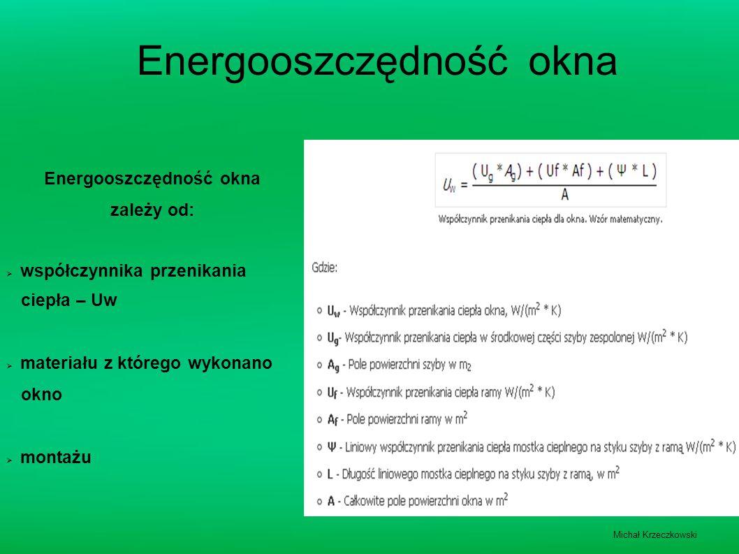 Energooszczędność okna zależy od:  współczynnika przenikania ciepła – Uw  materiału z którego wykonano okno  montażu Michał Krzeczkowski