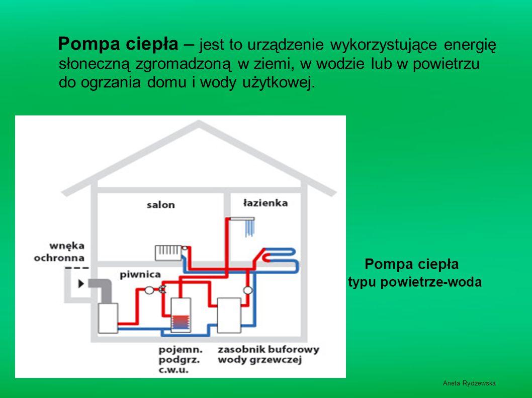 Pompa ciepła – jest to urządzenie wykorzystujące energię słoneczną zgromadzoną w ziemi, w wodzie lub w powietrzu do ogrzania domu i wody użytkowej.