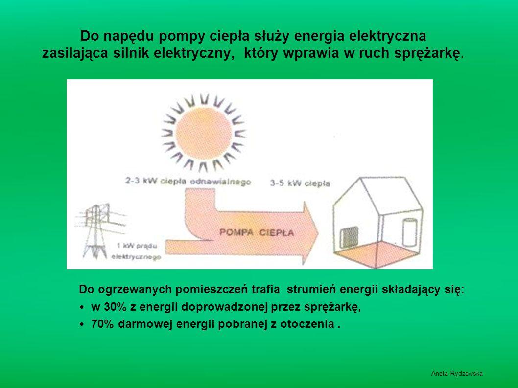 Aneta Rydzewska Do napędu pompy ciepła służy energia elektryczna zasilająca silnik elektryczny, który wprawia w ruch sprężarkę. Do ogrzewanych pomiesz