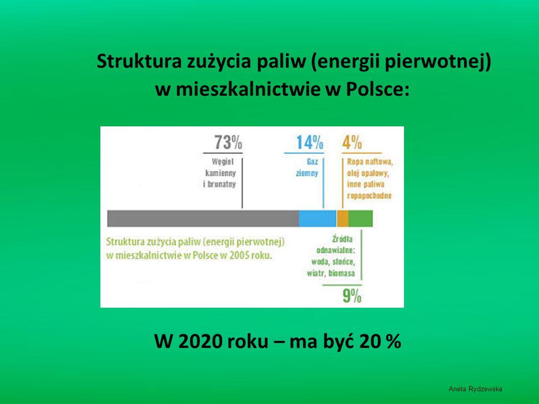 Struktura zużycia paliw (energii pierwotnej) w mieszkalnictwie w Polsce: W 2020 roku – ma być 20 % Aneta Rydzewska