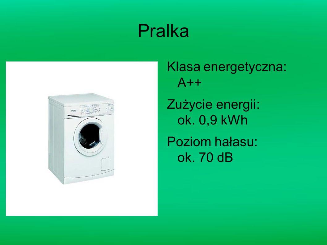 Pralka Klasa energetyczna: A++ Zużycie energii: ok. 0,9 kWh Poziom hałasu: ok. 70 dB