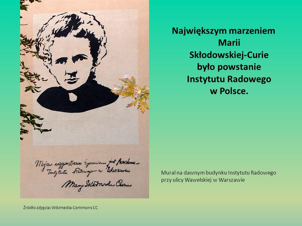Największym marzeniem Marii Skłodowskiej-Curie było powstanie Instytutu Radowego w Polsce. Mural na dawnym budynku Instytutu Radowego przy ulicy Wawel