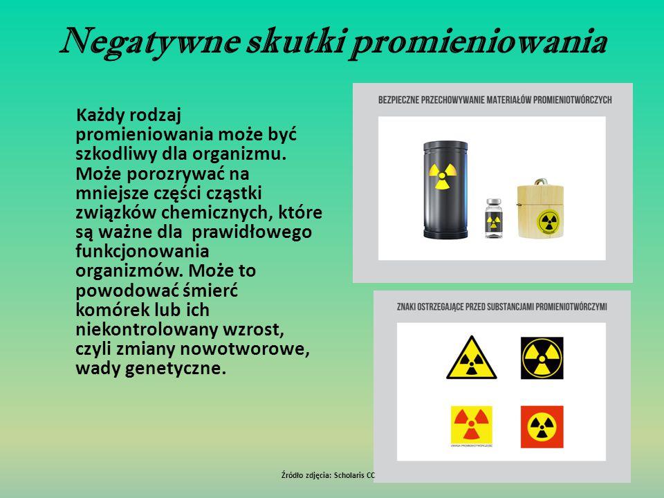 Negatywne skutki promieniowania Każdy rodzaj promieniowania może być szkodliwy dla organizmu. Może porozrywać na mniejsze części cząstki związków chem