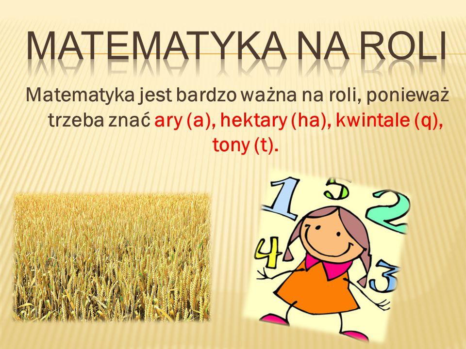 Matematyka jest bardzo ważna na roli, ponieważ trzeba znać ary (a), hektary (ha), kwintale (q), tony (t).