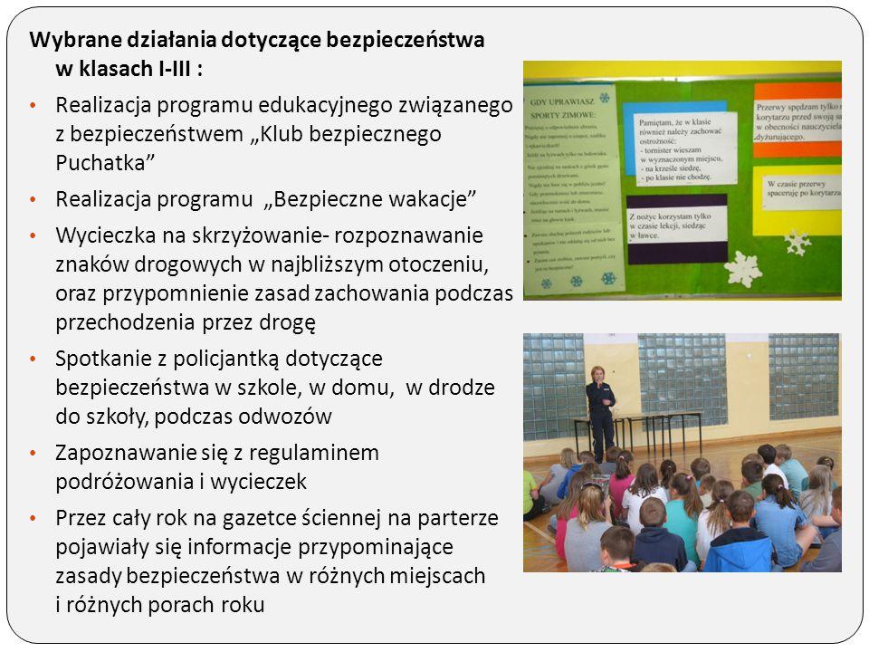 """Wybrane działania dotyczące bezpieczeństwa w klasach I-III : Realizacja programu edukacyjnego związanego z bezpieczeństwem """"Klub bezpiecznego Puchatka"""
