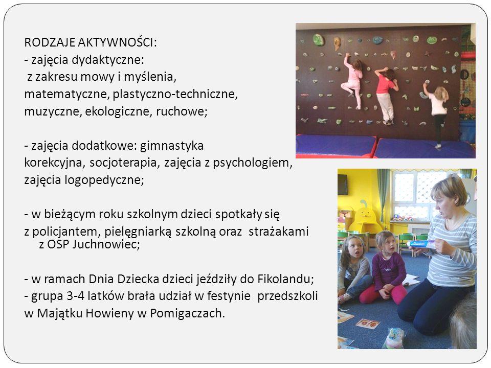 RODZAJE AKTYWNOŚCI: - zajęcia dydaktyczne: z zakresu mowy i myślenia, matematyczne, plastyczno-techniczne, muzyczne, ekologiczne, ruchowe; - zajęcia d