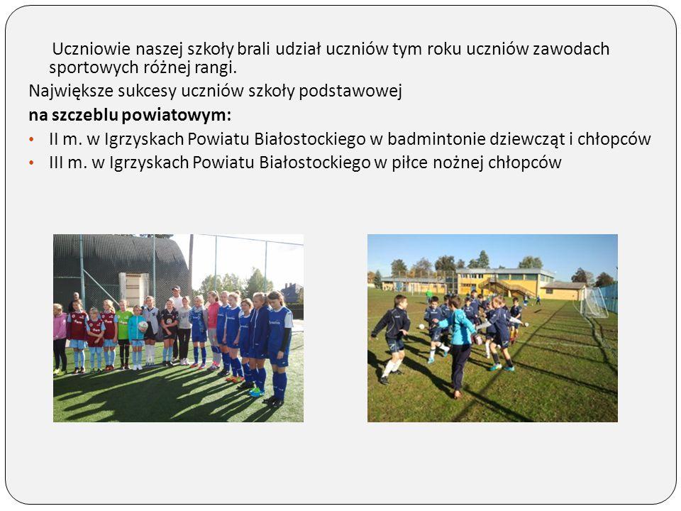 Uczniowie naszej szkoły brali udział uczniów tym roku uczniów zawodach sportowych różnej rangi. Największe sukcesy uczniów szkoły podstawowej na szcze