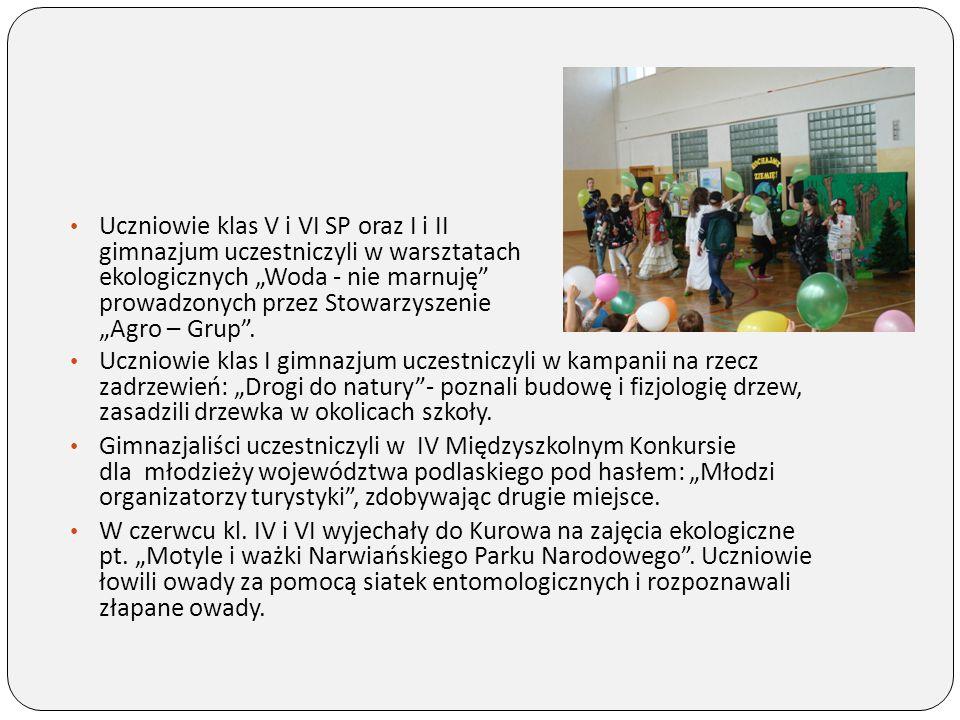 """Uczniowie klas I gimnazjum uczestniczyli w kampanii na rzecz zadrzewień: """"Drogi do natury""""- poznali budowę i fizjologię drzew, zasadzili drzewka w oko"""