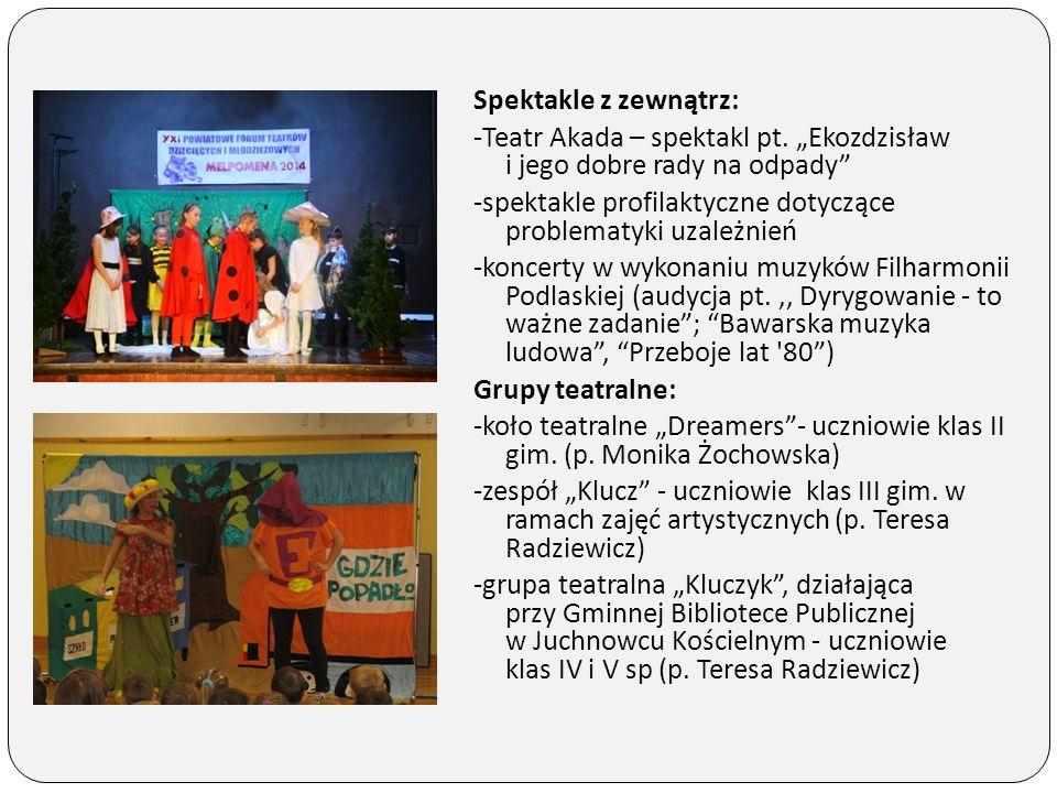 """Spektakle z zewnątrz: -Teatr Akada – spektakl pt. """"Ekozdzisław i jego dobre rady na odpady"""" -spektakle profilaktyczne dotyczące problematyki uzależnie"""