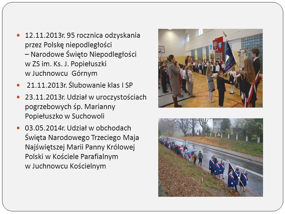 12.11.2013r. 95 rocznica odzyskania przez Polskę niepodległości – Narodowe Święto Niepodległości w ZS im. Ks. J. Popiełuszki w Juchnowcu Górnym 21.11.