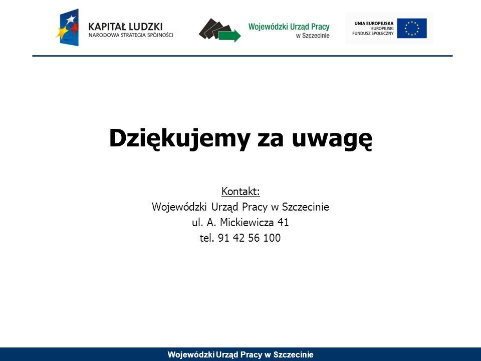 Wojewódzki Urząd Pracy w Szczecinie Dziękujemy za uwagę Kontakt: Wojewódzki Urząd Pracy w Szczecinie ul.