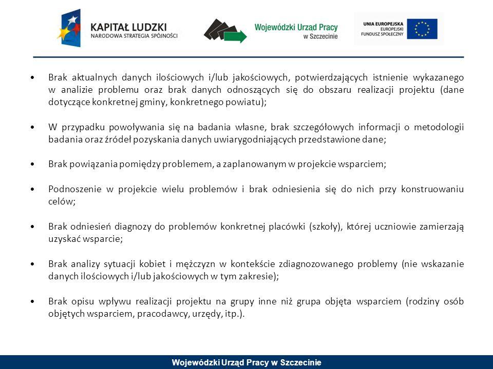 Wojewódzki Urząd Pracy w Szczecinie Brak aktualnych danych ilościowych i/lub jakościowych, potwierdzających istnienie wykazanego w analizie problemu o