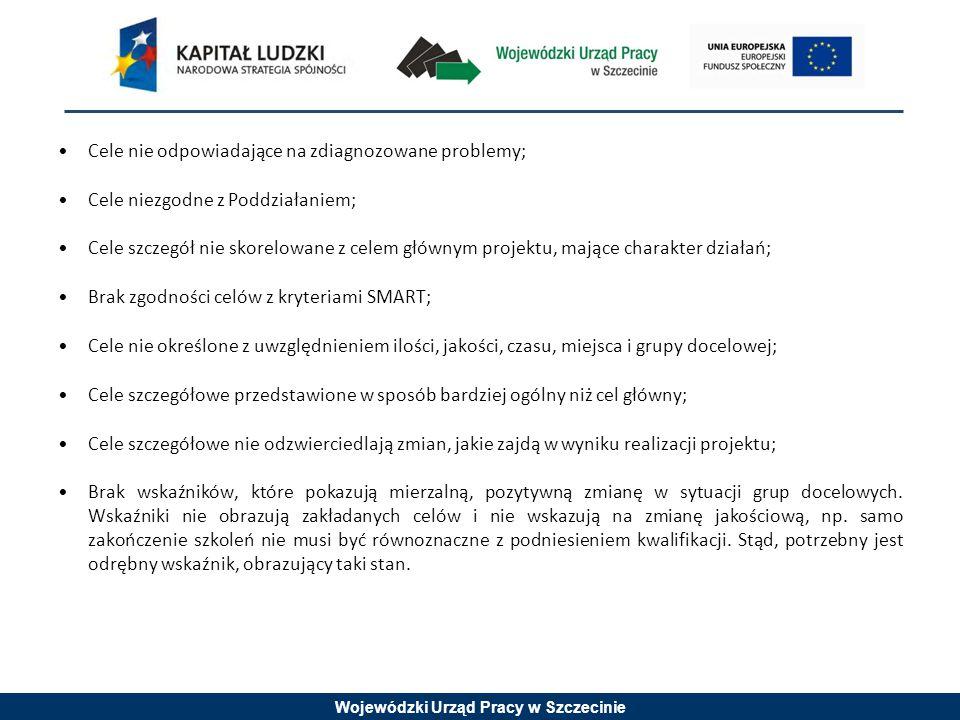 Wojewódzki Urząd Pracy w Szczecinie Cele nie odpowiadające na zdiagnozowane problemy; Cele niezgodne z Poddziałaniem; Cele szczegół nie skorelowane z celem głównym projektu, mające charakter działań; Brak zgodności celów z kryteriami SMART; Cele nie określone z uwzględnieniem ilości, jakości, czasu, miejsca i grupy docelowej; Cele szczegółowe przedstawione w sposób bardziej ogólny niż cel główny; Cele szczegółowe nie odzwierciedlają zmian, jakie zajdą w wyniku realizacji projektu; Brak wskaźników, które pokazują mierzalną, pozytywną zmianę w sytuacji grup docelowych.