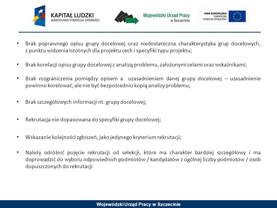 Wojewódzki Urząd Pracy w Szczecinie Brak poprawnego opisu grupy docelowej oraz niedostateczna charakterystyka grup docelowych, z punktu widzenia istot