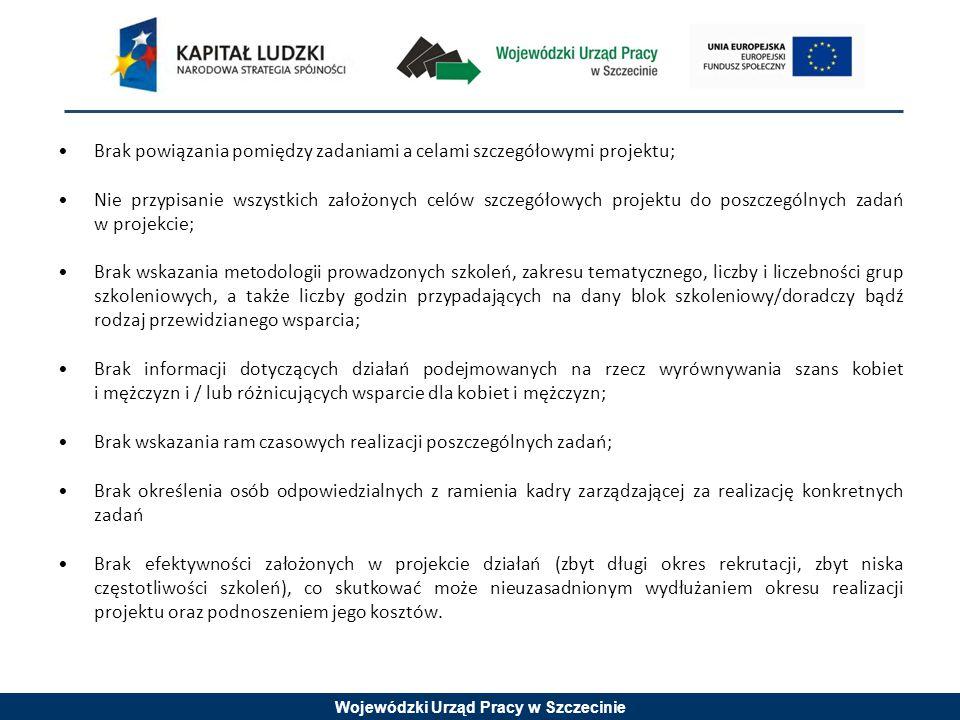Wojewódzki Urząd Pracy w Szczecinie Brak powiązania pomiędzy zadaniami a celami szczegółowymi projektu; Nie przypisanie wszystkich założonych celów szczegółowych projektu do poszczególnych zadań w projekcie; Brak wskazania metodologii prowadzonych szkoleń, zakresu tematycznego, liczby i liczebności grup szkoleniowych, a także liczby godzin przypadających na dany blok szkoleniowy/doradczy bądź rodzaj przewidzianego wsparcia; Brak informacji dotyczących działań podejmowanych na rzecz wyrównywania szans kobiet i mężczyzn i / lub różnicujących wsparcie dla kobiet i mężczyzn; Brak wskazania ram czasowych realizacji poszczególnych zadań; Brak określenia osób odpowiedzialnych z ramienia kadry zarządzającej za realizację konkretnych zadań Brak efektywności założonych w projekcie działań (zbyt długi okres rekrutacji, zbyt niska częstotliwości szkoleń), co skutkować może nieuzasadnionym wydłużaniem okresu realizacji projektu oraz podnoszeniem jego kosztów.